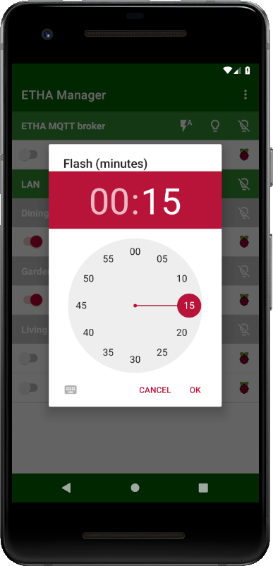 App manual – Main screen of the Android app – ETHA Light Switch